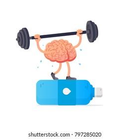 Water and brain. Creative concept brain lifts weights. Cartoon smart brain. Vector illustration. Flat style design