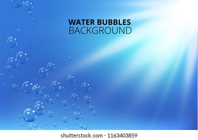 Water bubbles against blue wave background. Vector illustration
