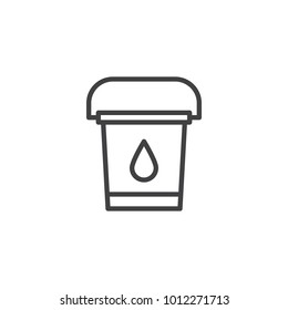 Water bucket line icon, outline vector sign, linear style pictogram isolated on white. Bucket to extinguish the fire symbol, logo illustration. Editable stroke