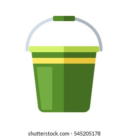 Water bucket vector illustration.Gardening equipment green tool isolated on white