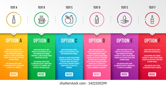 Water care, Water bottle and Apple icons simple set. Coffee cup, Beer bottle and Wine signs. Aqua drop, Soda drink. Food and drink set. Infographic template. 6 steps timeline. Business options. Vector
