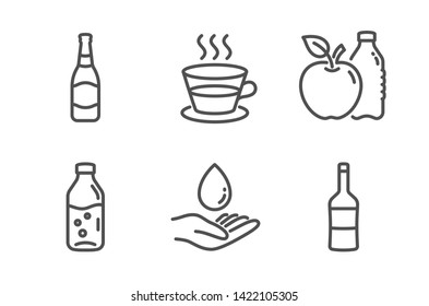 Water care, Water bottle and Apple icons simple set. Coffee cup, Beer bottle and Wine signs. Aqua drop, Soda drink. Food and drink set. Line water care icon. Editable stroke. Vector