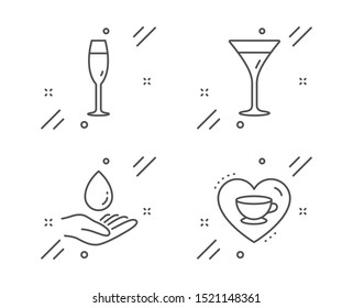 Water care, Champagne glass and Martini glass line icons set. Love coffee sign. Aqua drop, Winery, Wine. Cappuccino mug. Food and drink set. Line water care outline icon. Vector