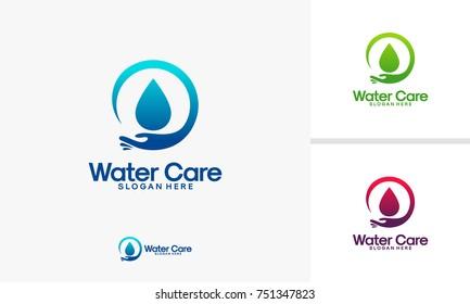 Water Care logo designs vector illustration, Plumbing logo designs