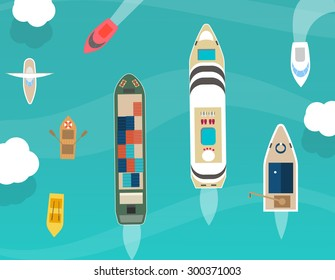 Water carriage and maritime transport icons set, top view, in flat design style.