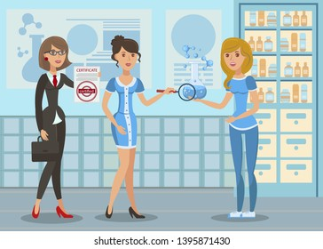 Water Chemistry Analysis Flat Vector Illustration. Scientist, Ecologist Checking Potable Liquid in Lab. Chemist, Testing Blue Fluid Sample in Scientific Laboratory. Biologist Holding Magnifier