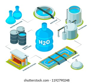 Water cleaning 3D. Aqua industrial chemical purification systems sewage plant reservoir tank for water recycling vector isometric. Purification system water, illustration of aqua cleaning