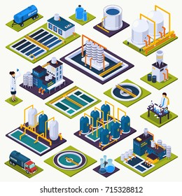 Water cleaning set of isometric icons with facilities of purification plant, laboratory test, transportation isolated vector illustration