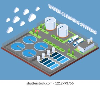 Water cleaning systems isometric composition with industrial treatment facilities and delivery trucks on blue background vector illustration