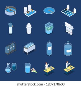 Water cleaning systems isometric icons with industrial purification equipment and home filters blue background isolated vector illustration