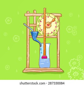 Water Clock. Clepsydra. Vector illustration informative.