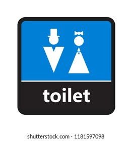 Water closet sign with toilet label for print and digital content