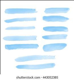 Water color brush on paper rough use for custom brush in Photo editor or use in commercial use 12 shape blue color collection vector illustrations