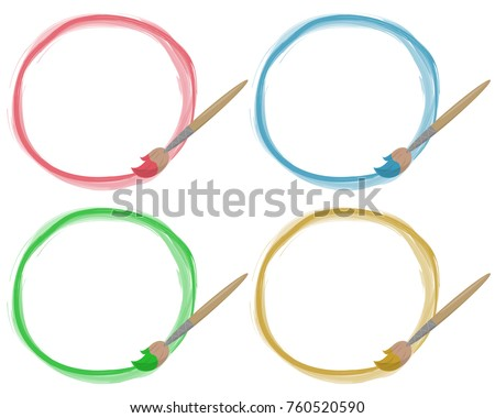 Water Color Circle Frames Paint Brushs Stock Vector (Royalty Free ...