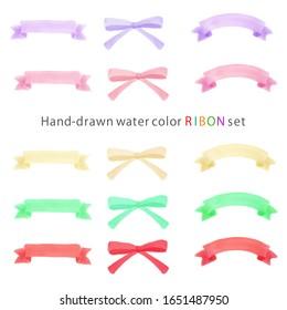 water color hand drawn ribbon set