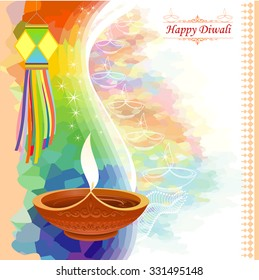 Diwali greetings images stock photos vectors shutterstock water color inspired diwali greeting with motifs m4hsunfo