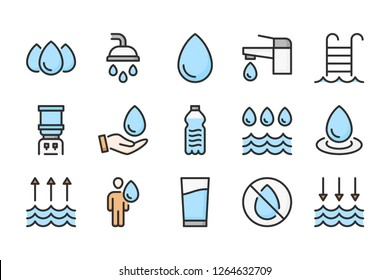 Water color line icons. Liquid vector linear colorful icon set. Isolated icon collection on white background.