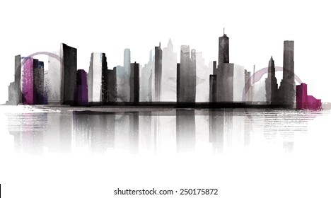 Water Color Skyline