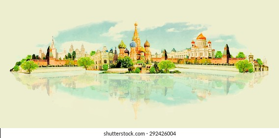 water color vector panoramic moscow view