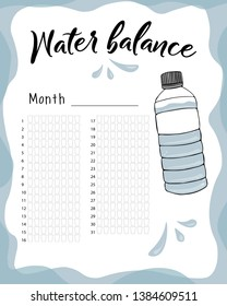 Water consumption per week and month. Water balance vector calendar. Water monthly tracker.