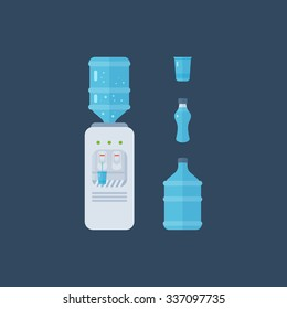 Water cooler. Bottle office, plastic and liquid. Water bottle. Vector illustration