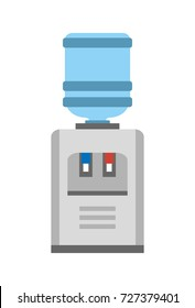 Water cooler or dispenser device that cools and dispenses liqueds. Image of big automatic watercooler vector illustration on white