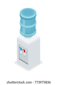 Water cooler dispenser isometric 3D icon. Office interior element, plastic bottle with water isolated vector illustration.
