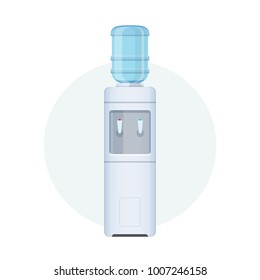 Water cooler for office and home. Bottle office, plastic and liquid. Gray water cooler with blue full bottle and cup. Vector illustration isolated.