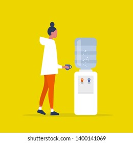Water cooler. Office. Young female manager holding a cup. Coffee break. Flat vector illustration