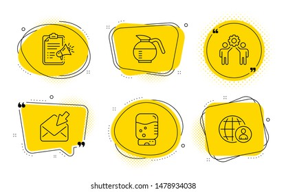 Water cooler, Open mail and International recruitment signs. Chat bubbles. Megaphone checklist, Coffeepot and Employees teamwork line icons set. Brand check, Brewed coffee, Collaboration. Vector