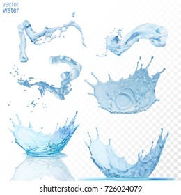 Water crown and splashes set, isolated on transparent blue background. Realistic liquid vector illustration