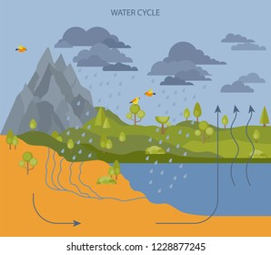 Water cycle. Geography, ecology infographic design. Vector illustration