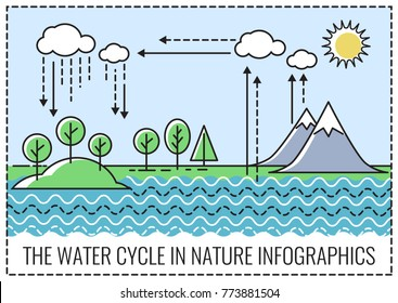 The water cycle in nature, infographics. Vector illustration.