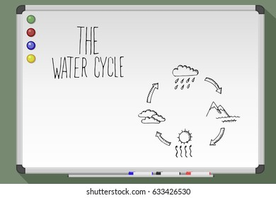 Water cycle on whiteboard. Hand drawn vector stock illustration.