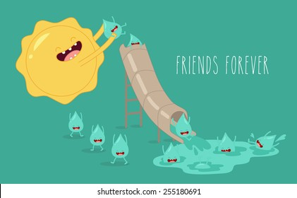 The water cycle. Sun and rain. Vector cartoon. Friends forever. comic characters.
