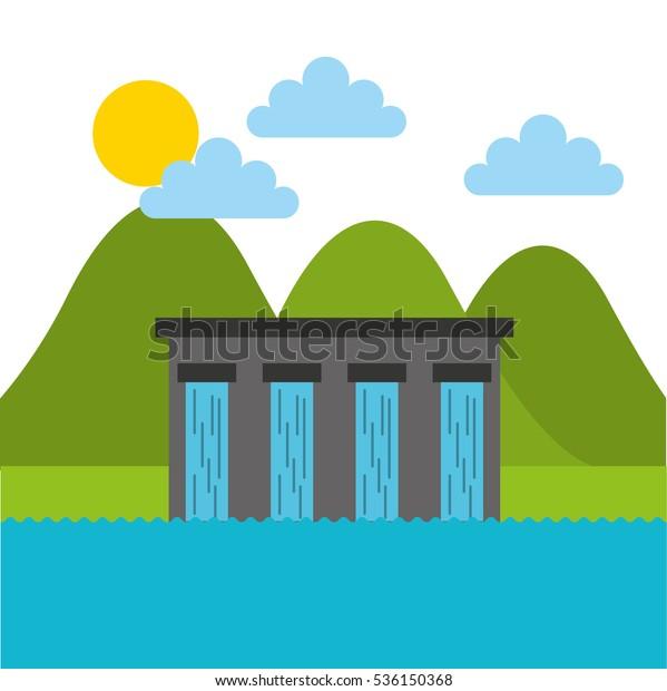 water dam over landscape. colorful design. vector illustration