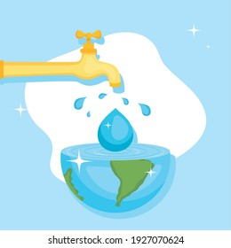 Water day with world drop and tap design, Environment save nature and ecology theme Vector illustration