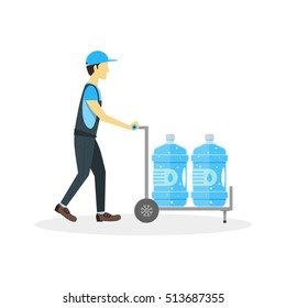Water Delivery Boy or Man. Plastic Bottles in Cart. Flat Design Style Vector illustration of delivering clear health waters bottle in home. Young Cartoon Man Holding Trolley
