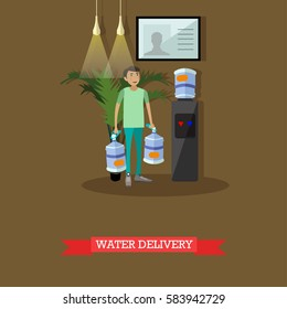 Water delivery service concept vector illustration in flat style. Man with big plastic bottles for office cooler.