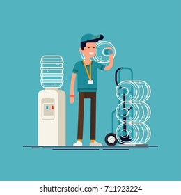 Water delivery service. Cool vector character with delivery cart with bottles. Water cooler rental, supply and shipping service concept background. Bottled water shipment worker