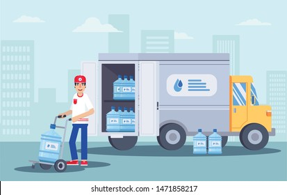 Water delivery service flat vector illustration. Smiling man with bottle in uniform cartoon character. Delivery truck. Plastic bottle, blue container. Supply, shipping. Business service