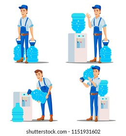 Water Delivery Service Man Set Vector. Treatment. Office Drink In Plastic Bottles. Water Cooler Rental. Supply, Shipping. Isolated Flat Cartoon Illustration