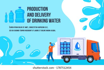 Water delivery vector illustration. Cartoon flat courier truck van delivering, postman character carrying, holding bottles with clean water. Production and delivery of drinking water service poster