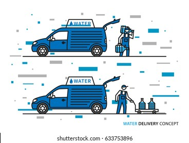 Water delivery vector illustration. Workers with potable water bottles and car graphic design with colorful elements.