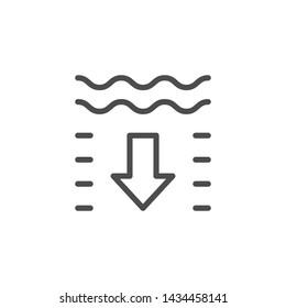 Umriss-Symbol für die Wassertiefe