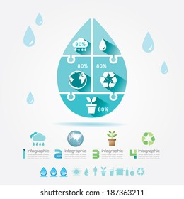 Water Design Elements Ecology Infographic Jigsaw Concept.Vector Illustration.