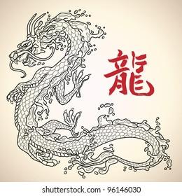 Water dragon. Vector illustration.