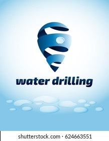 Water drilling emblem, swirl drop logo, vector illustration