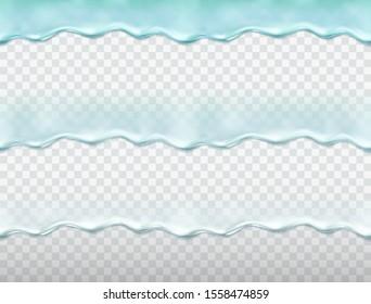 Water drip seamless pattern isolated on transparent background. Blue splash serum, collagen or melt ice water texture. Vector flow liquid gel border template.