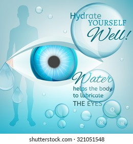 Water is the driving force of all nature. Vector illustration of bio infographics with human eye in transparent style. Medicine and biochemistry concept. Keep your body healthy